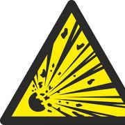 Schild Warnung vor explosionsgefährlichen Stoffen W002