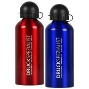 Trinkflasche rot oder blau 0,6l Aluminium mit Lasergravur Namen Grafiken Logos