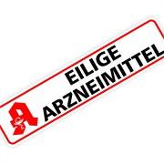 """Magnetschild """"Eilige Arzneimittel"""" 30 x 7 cm 1mm stark"""