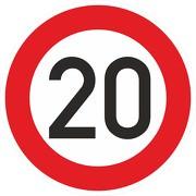 Schild Aufkleber Zulässige Höchstgeschwindigkeit 20 km/h (STVO Zeichen 274-52) RA1