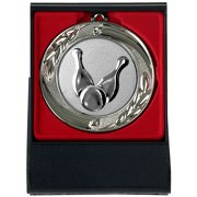 Bowling Kegeln Medaille mit Etui zum Aufstellen gold silber bronze 70mm Metall