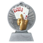Pokal mit 3D Motiv Skat Poker Karten Serie Ronny 10,5 cm hoch