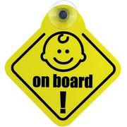Schild Autoschild Baby on board mit Saugnapf PVC wetterfest 12x12,5 cm Saugnapfschild