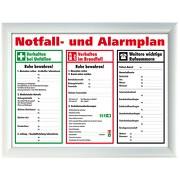 Schild Aushang Notfallplan Alarmplan A4 A3 gerahmt zum beschriften