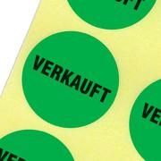 Etiketten VERKAUFT Haftpapier 30 mm rund kräftig grün
