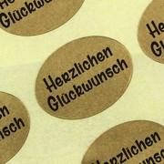 """Etiketten / Aufkleber """"Herzlichen Glückwunsch"""" gold Sticker Blumen 25 x 18 mm Haftpapier auf Rolle, ab 500 mit Spender"""
