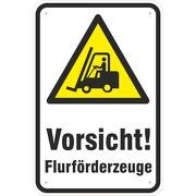 Hinweisschild Vorsicht Flurförderzeuge / Staplerverkehr 3mm Aluminium-Verbundmaterial