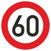 Schild Aufkleber Zulässige Höchstgeschwindigkeit 60 km/h (STVO Zeichen 274-56) RA1