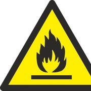 Schild Warnung vor feuergefährlichen Stoffen W021