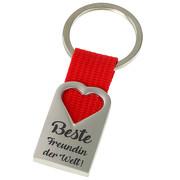 Beste Freundin der Welt Schlüsselanhänger Herz aus Metall und rotem Polyester-Band