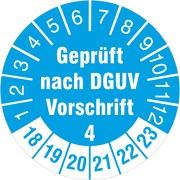 Geprüft nach DGUV Vorschrift 4 Prüfetiketten / Prüfplaketten 30 mm rund 2018-23