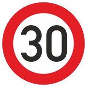 Schild Aufkleber Zulässige Höchstgeschwindigkeit 30 km/h (STVO Zeichen 274-53) RA1