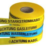 Trassenwarnband 250m Achtung Kabel Starkstrom Gas Wasser Abwasser