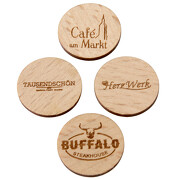 Einkaufswagenchips Holz Pfandmarken nachhaltig mit Logo Gravur
