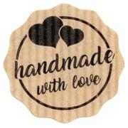 Etiketten Aufkleber HANDMADE WITH LOVE braun Natural Bois 35 mm