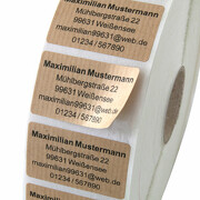 Etiketten Aufkleber NATURAL braun mit Druck individuell 5 x 3 cm eckig