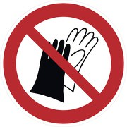 Aufkleber Benutzen von Handschuhen verboten P028
