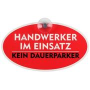 """Schild, Autoschild """"Handwerker im Einsatz"""" mit Saugnapf, 2mm PVC wetterfest 184 x 104 mm"""
