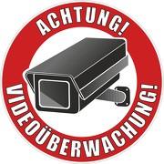 Aufkleber Achtung Video / Videoüberwachung rund