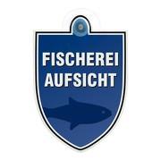 Schild Autoschild Fischereiaufsicht mit Saugnapf, 2mm PVC wetterfest 100 x 120 mm Saugnapfschild