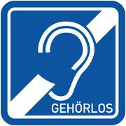 Gehörlos Magnetschild Magnettafel Schild 1 mm stark haftend Taubstumm Taub Hörgeschädigt