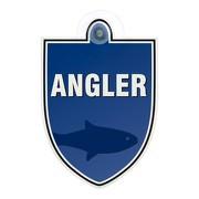 Schild Autoschild Angler mit Saugnapf Saugnapfschild