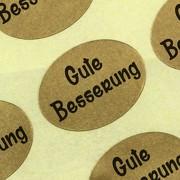 """Etiketten / Aufkleber """"Gute Besserung"""" gold Sticker Blumen 25 x 18 mm Haftpapier auf Rolle, ab 500 mit Spender"""