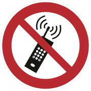 Schild Eingeschaltete Mobiltelefone verboten P013