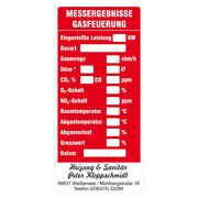 Gasfeuerung - Wartungsaufkleber / Kesselaufkleber