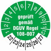 Prüfetiketten geprüft nach DGUV Regel 108-007 2022-27 Prüfplaketten