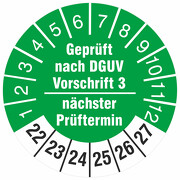 Geprüft nach DGUV Vorschrift 3 nächster Prüftermin Prüfetiketten 2022-27