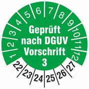Geprüft nach DGUV Vorschrift 3 Prüfetiketten Prüfplaketten 30 mm rund 2022-27