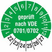 Prüfetiketten geprüft nach VDE 0701/0702 Prüfplaketten 2022-27