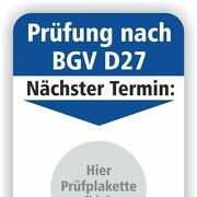 Grundplakette für Prüfung BGV D27 nächste Wartung mit und ohne Firmeneindruck 50 x 70 mm