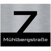 Hausnummer auf Aluverbund gebürstet Edelstahl Look schwarz 20 x 17 cm