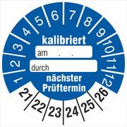 Kalibriert nächster Prüftermin Prüfetiketten zum beschriften 2021-26