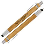 Kugelschreiber LEO Touchpen Bambus mit einfarbigem Druck