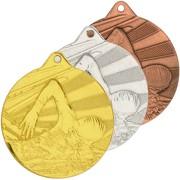 Medaille Schwimmen 2 Medaillen 50 mm rund gold silber bronze Set