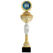 Pokal bester Opa der Welt 31 cm PVC Metall Steinsockel