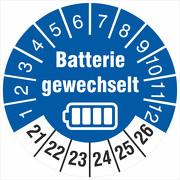 Prüfetiketten Batterie gewechselt Batteriewechsel durchgeführt 2021-2026