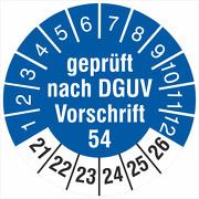 Prüfetiketten geprüft DGUV Information Vorschrift 54 Winden 2021-2026