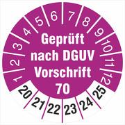 Prüfetiketten geprüft DGUV Information Vorschrift 70 Fahrzeuge 2020-25