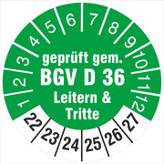 Prüfetiketten geprüft gem. BGV D 36 Leitern & Tritte 2022-2027
