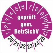 Prüfetiketten geprüft gemäß BetrSichV 2020-2025 Prüfplakette 18 30 mm