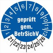 Prüfetiketten geprüft gemäß BetrSichV 2021-2026 Prüfplakette 18 30 mm