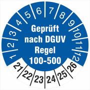 Prüfetiketten geprüft nach DGUV Regel 100-500 Prüfplaketten 2021-26