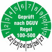 Prüfetiketten geprüft nach DGUV Regel 100-500 Prüfplaketten 2022-27