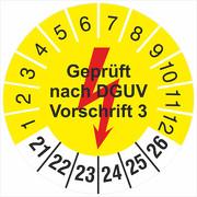 Prüfetiketten Geprüft nach DGUV Vorschrift 3 gelb mit Blitz 2021-2026