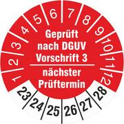 Prüfetiketten geprüft nach DGUV Vorschrift 3 nächster Prüftermin 2019