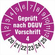 Prüfetiketten geprüft nach DGUV Vorschrift 4 Prüfplaketten 2020-2025